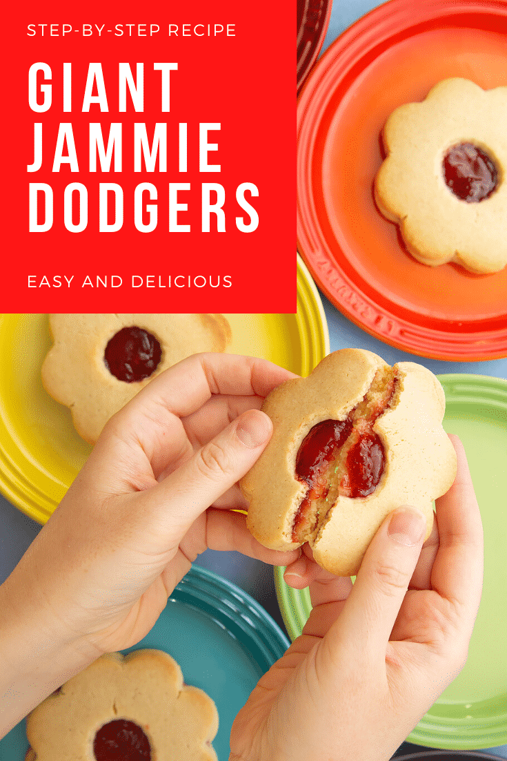Hands breaking a giant jammie dodger in half. More are arranged on a variety of rainbow coloured small plates in the background. Caption reads: step-by-step recipe giant jammie dodgers easy and delicious