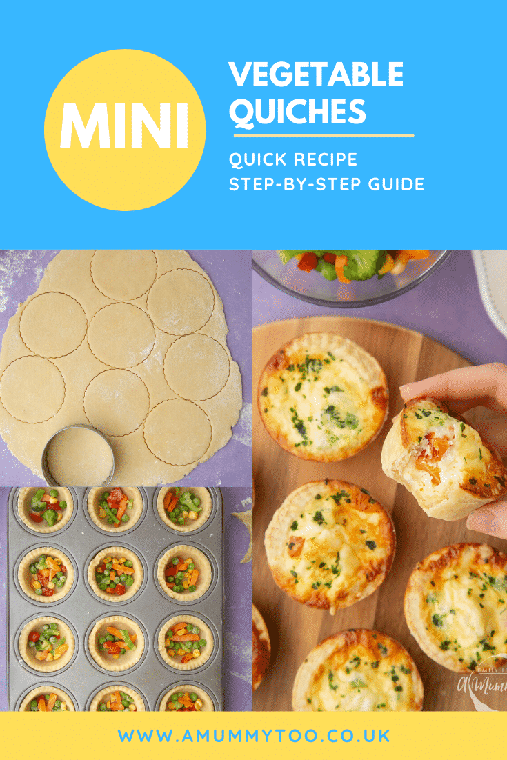 A collage showing how to make mini vegetable quiche. Caption reads: mini vegetable quiches quick recipe step-by-step guide