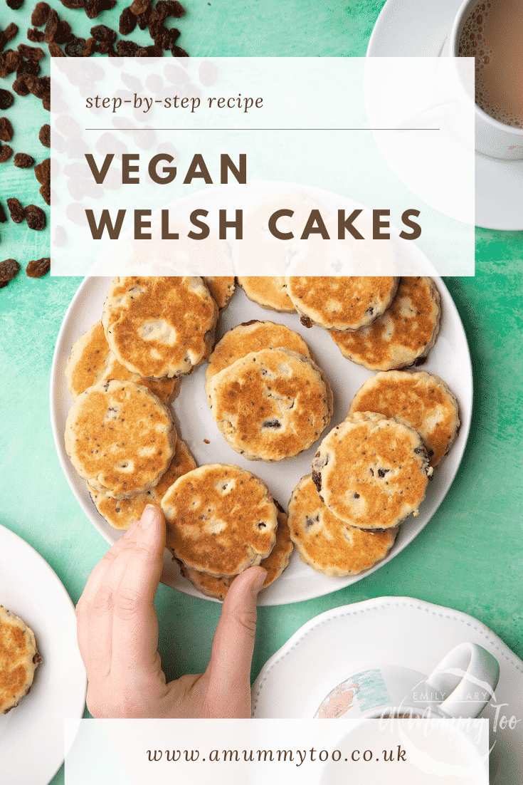 Vegan Welsh cakes arranged on a white plate. A hand reaches for one. Caption reads: step-by-step recipe vegan Welsh cakes.