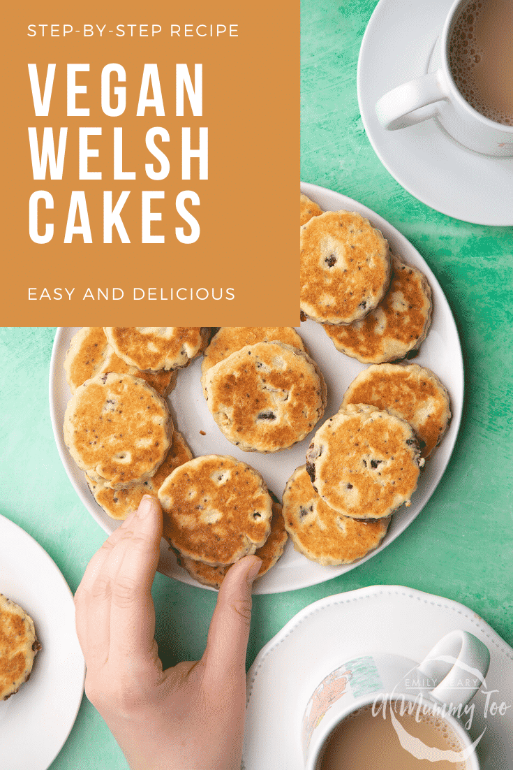 Vegan Welsh cakes arranged on a white plate. A hand reaches for one. Caption reads: step-by-step recipe vegan Welsh cakes easy and delicious.