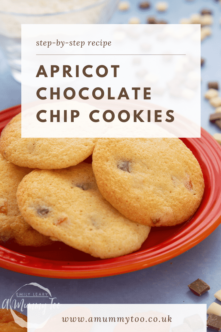 Apricot chocolate chip cookies on a small orange plate. Caption reads: step-by-step recipe apricot chocolate chip cookies