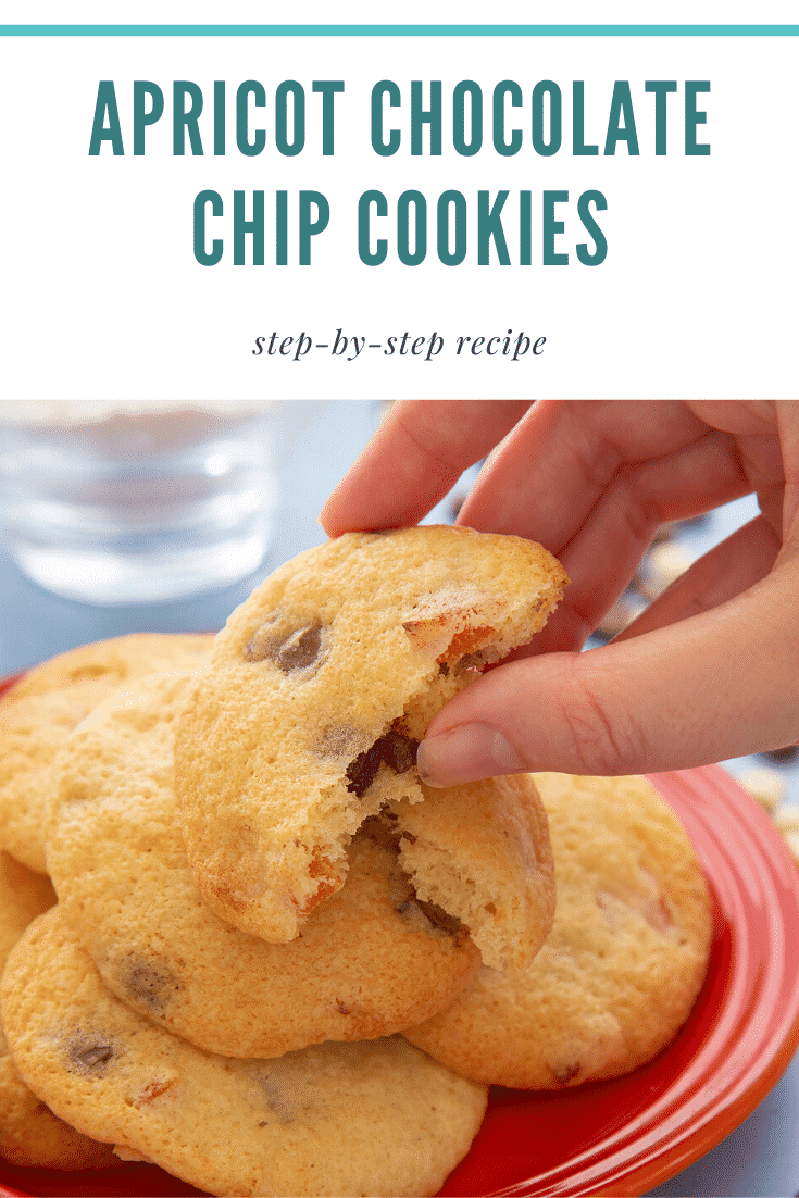 Apricot chocolate chip cookies stacked on a small orange plate. A hand reaches to take a half. Caption reads: apricot chocolate chips cookies step-by-step recipe
