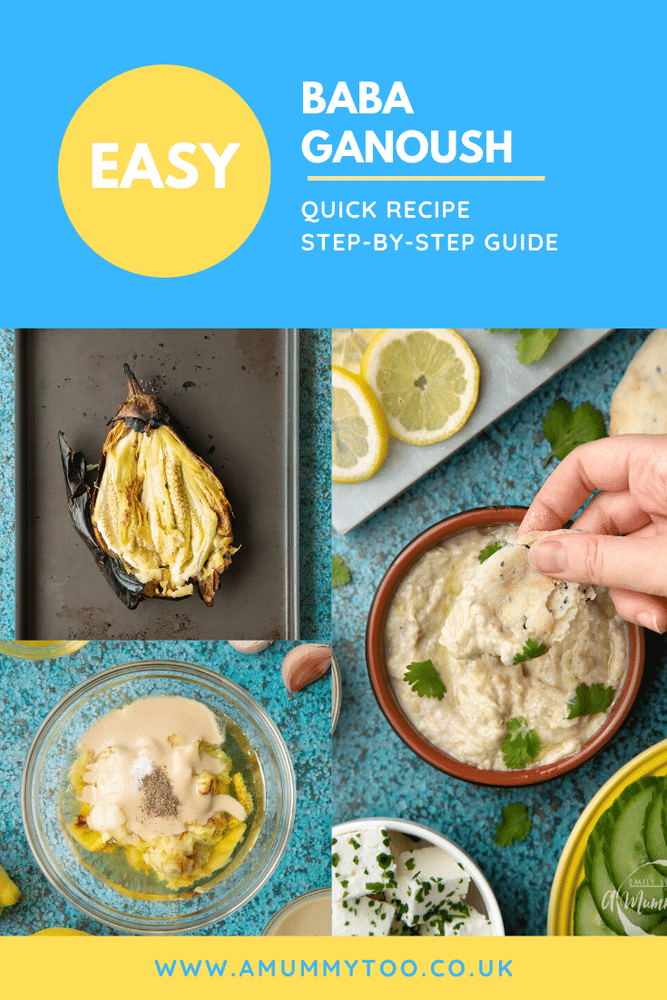 A collage of images showing the making of baba ganoush. Caption reads: easy baba ganoush quick recipe step-by-step guide