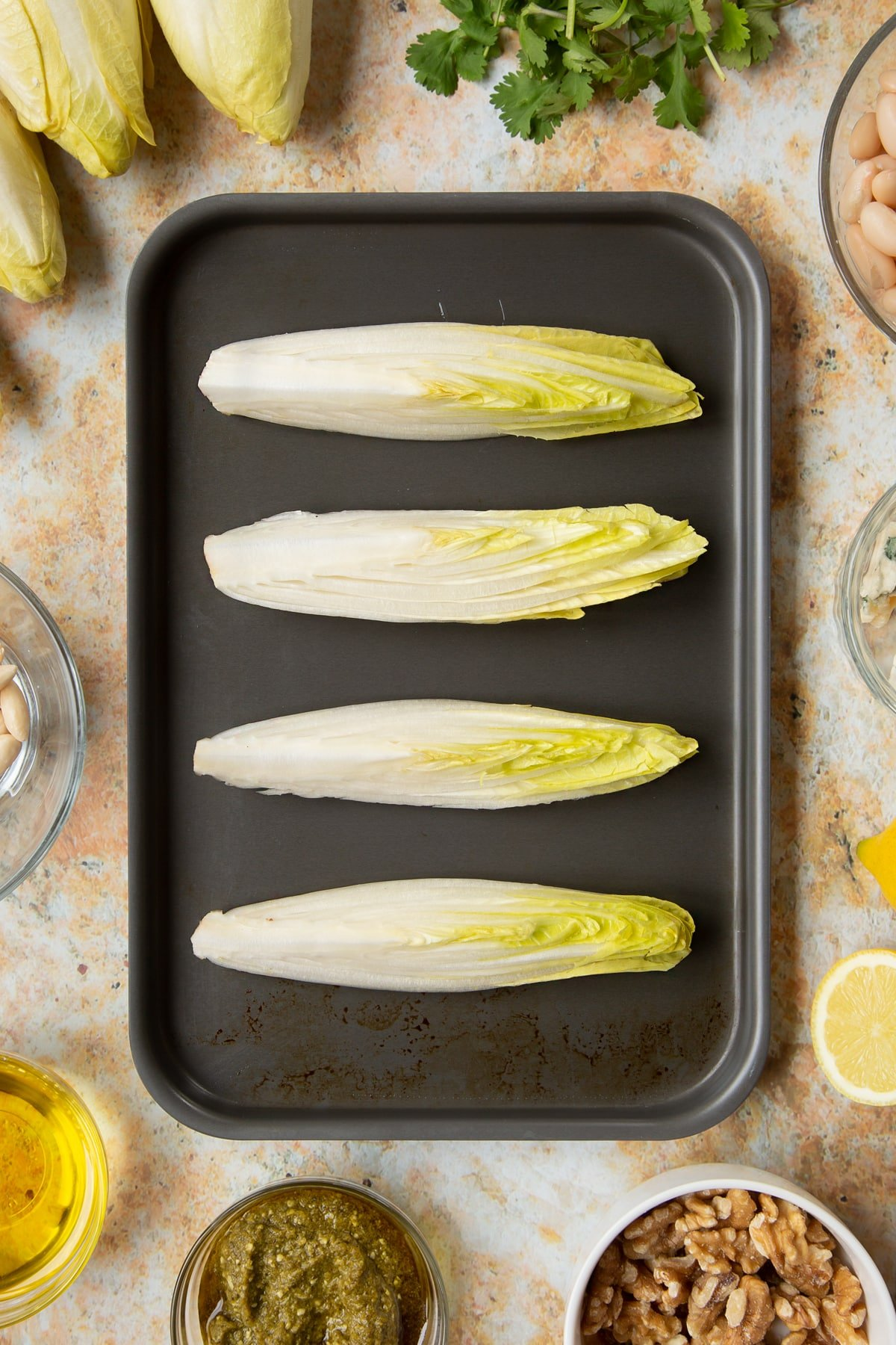 Chicory on a tray.