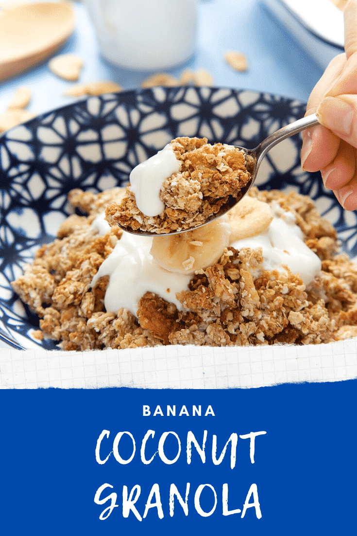Banana coconut granola on a spoon with more in a bowl behind. Caption reads: banana coconut granola.