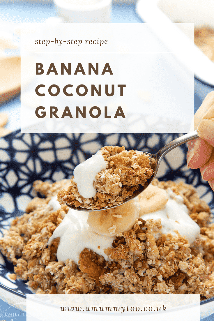 Banana coconut granola on a spoon with more in a bowl behind. Caption reads: step-by-step recipe banana coconut granola.