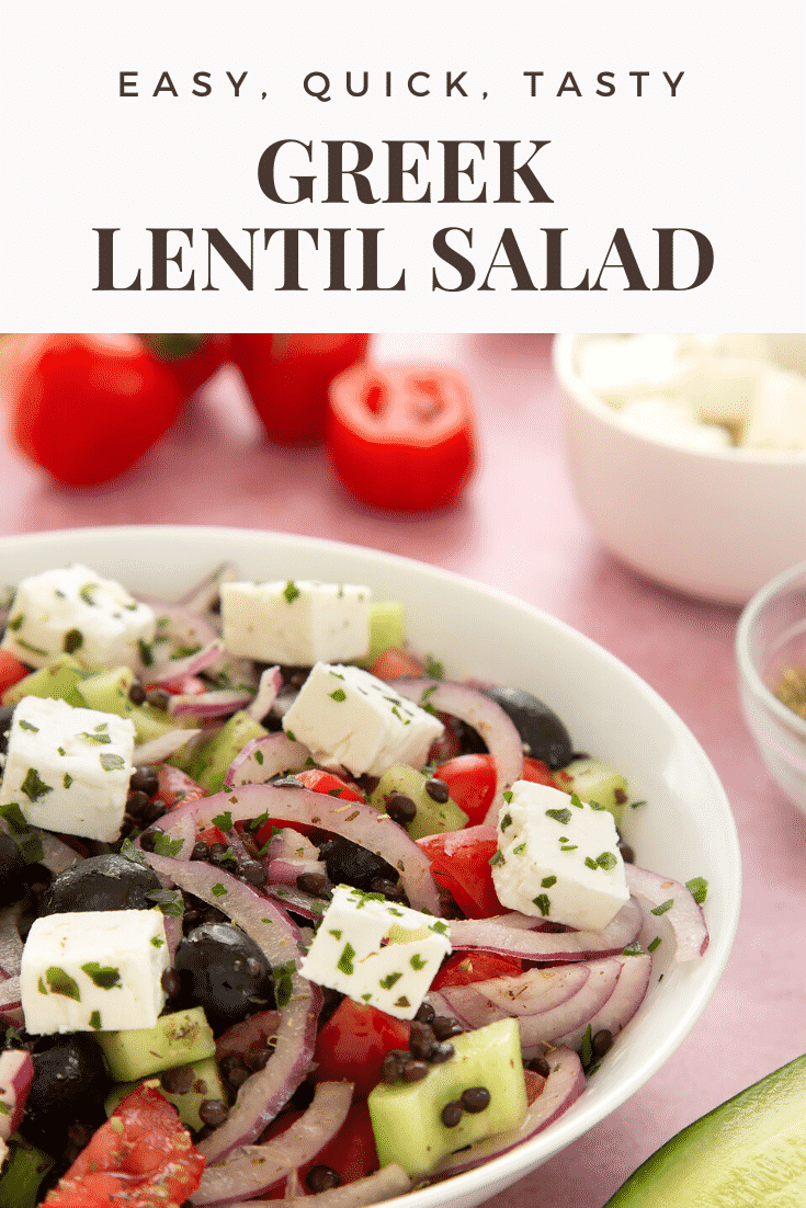 A white bowl containing Greek lentil salad. Caption reads: easy, quick, tasty Greek lentil salad