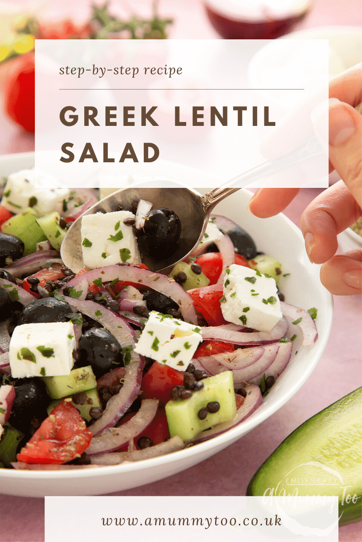 A white bowl containing Greek lentil salad. A hand with a spoon delves in. Caption reads: step-by-step recipe Greek lentil salad