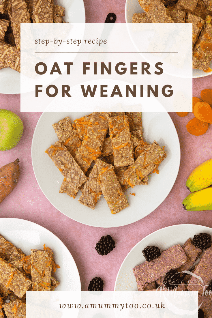 White plate piled with sweet potato oat fingers. Other flavours of oat fingers sit on plates around the edge of the frame. Caption reads: Step-by-step recipe oat fingers for weaning.