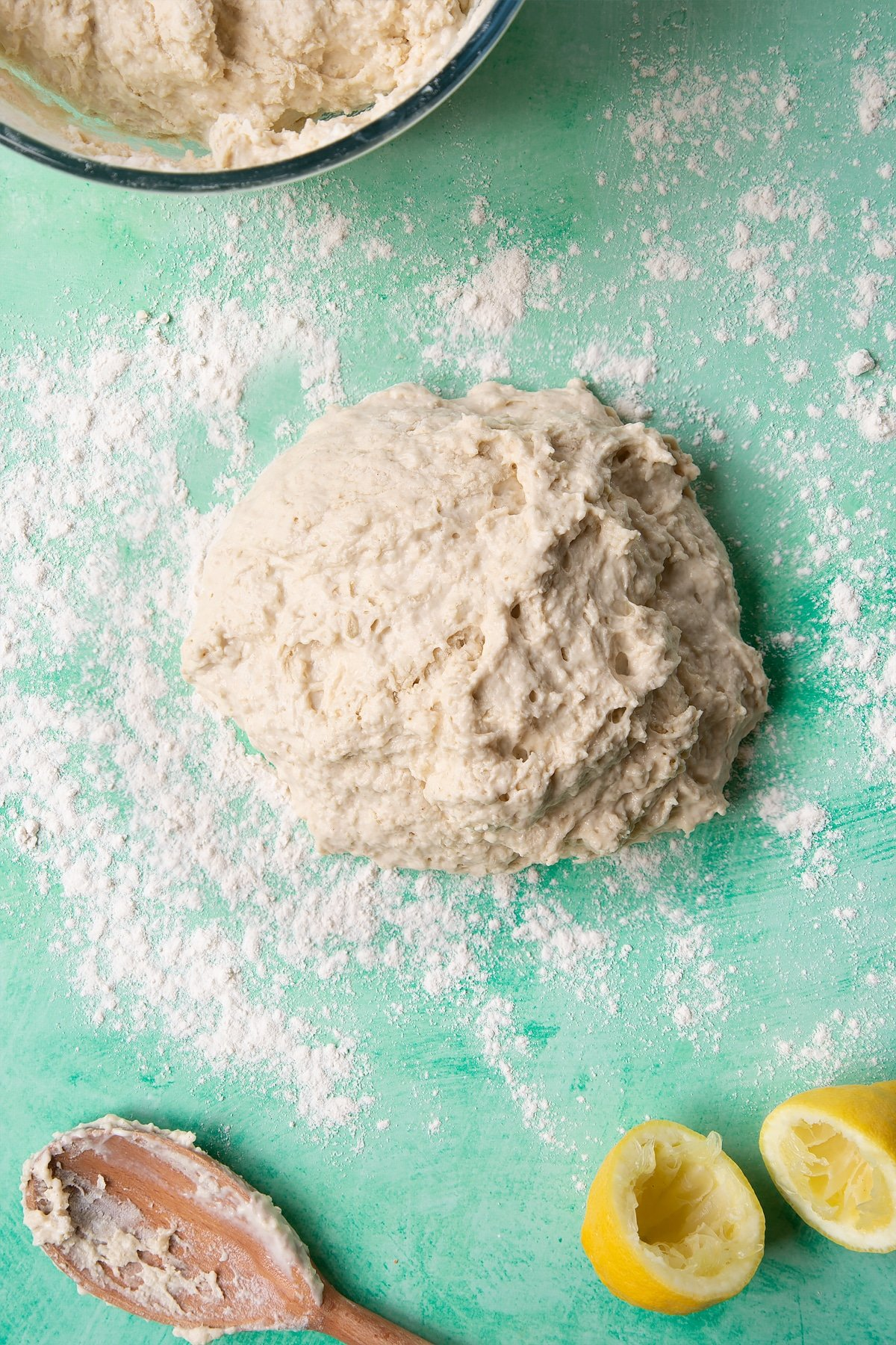 Dough to make a soda bread recipe without buttermilk tipped onto a floured surface.