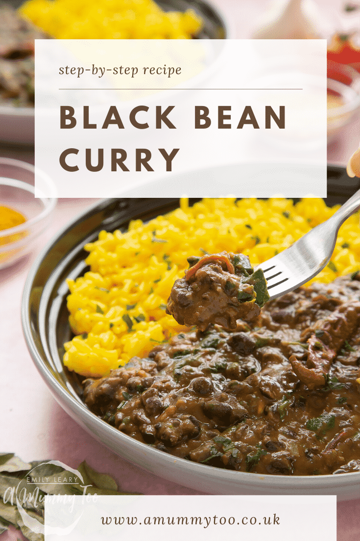 Black bean curry served to a shallow grey bowl with yellow rice. A fork reaches in. Caption reads: step-by-step recipe black bean curry