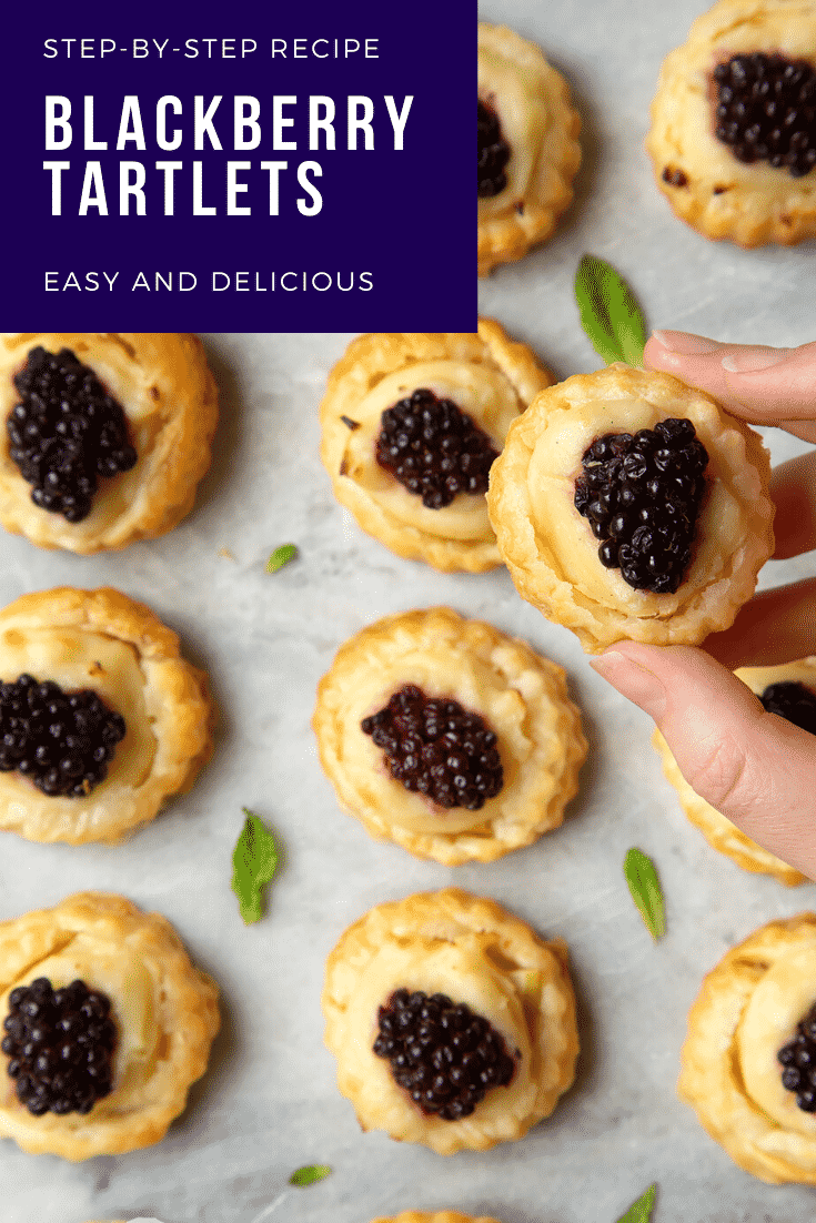 Blackberry tartlets on a marble board with tiny mint leaves scattered around them. A hand holds one of the tarts. Caption reads: step-by-step recipe blackberry, tartlets easy and delicious.