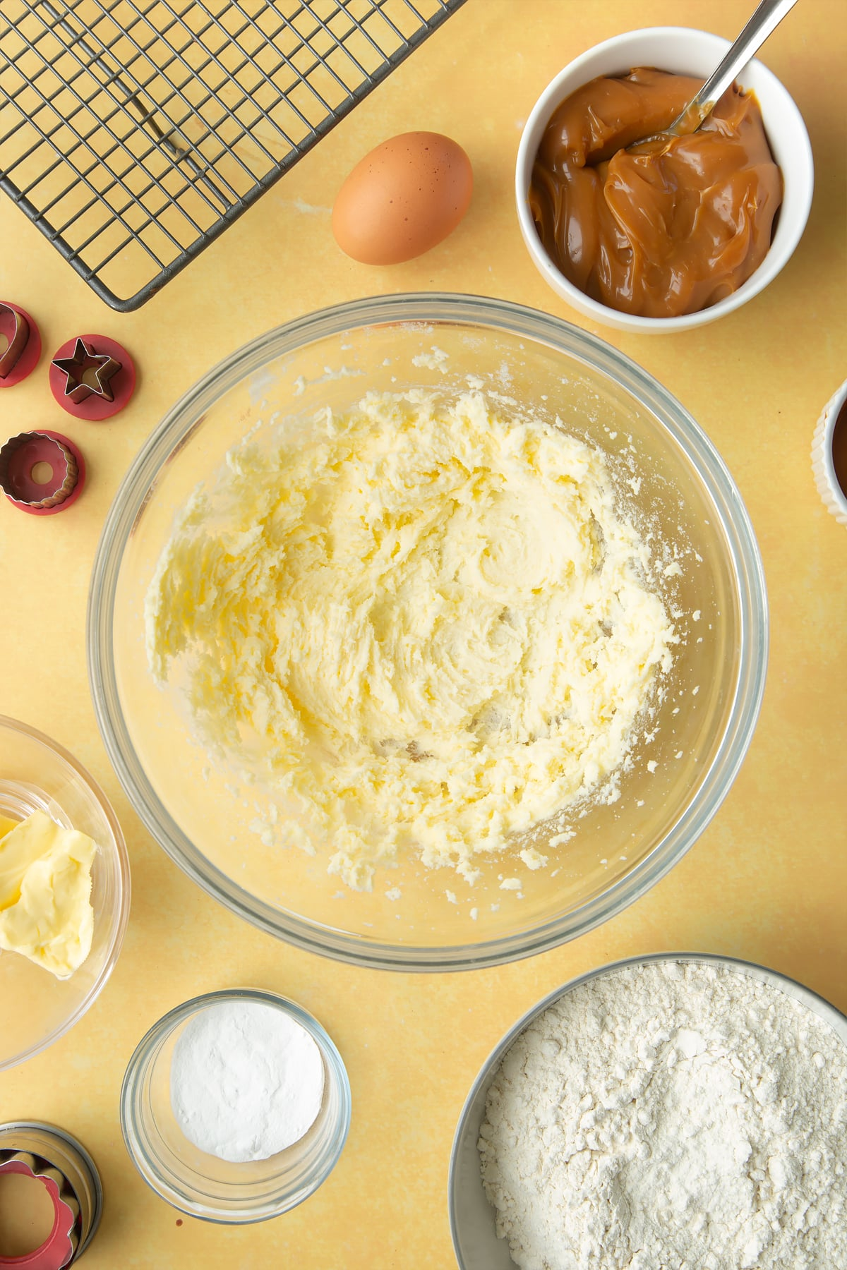 Overhead shot of mixed butter in a mixing bowl