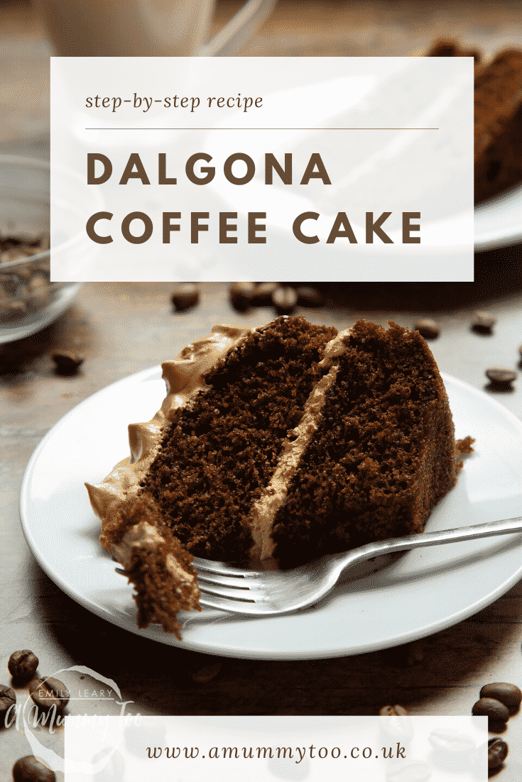 A slice of dalgona coffee cake on a white plate with a fork. Caption reads: step-by-step recipe dalgona coffee cake