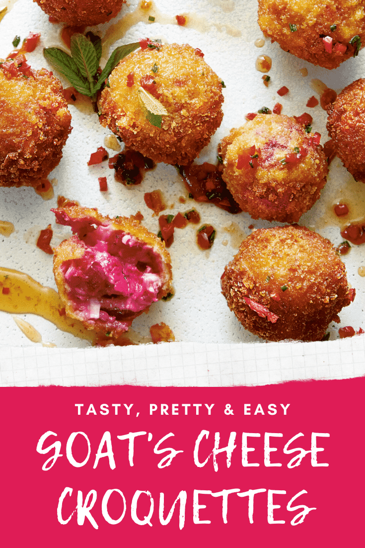 Goat's cheese croquettes on a large white plate. Caption reads: tasty, pretty & easy goat's cheese croquettes