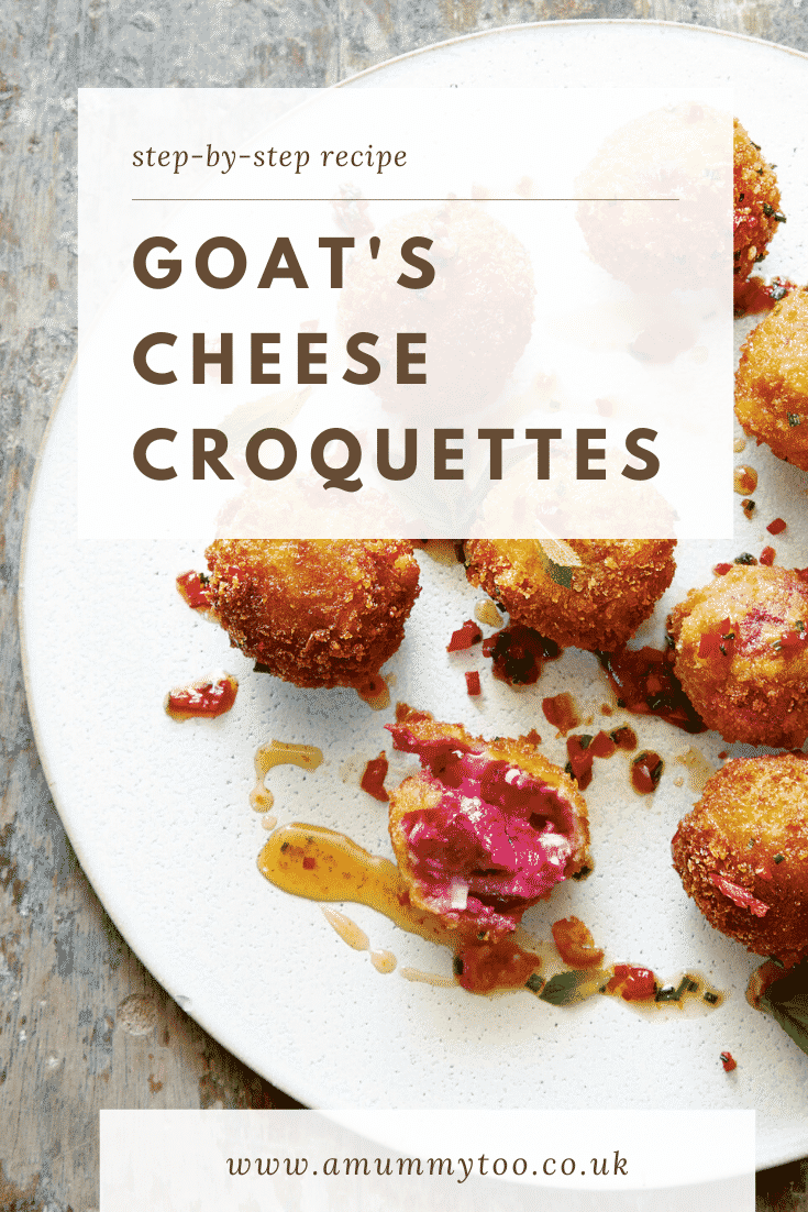 Goat's cheese croquettes on a large white plate. Caption reads: step-by-step recipe goat's cheese croquettes