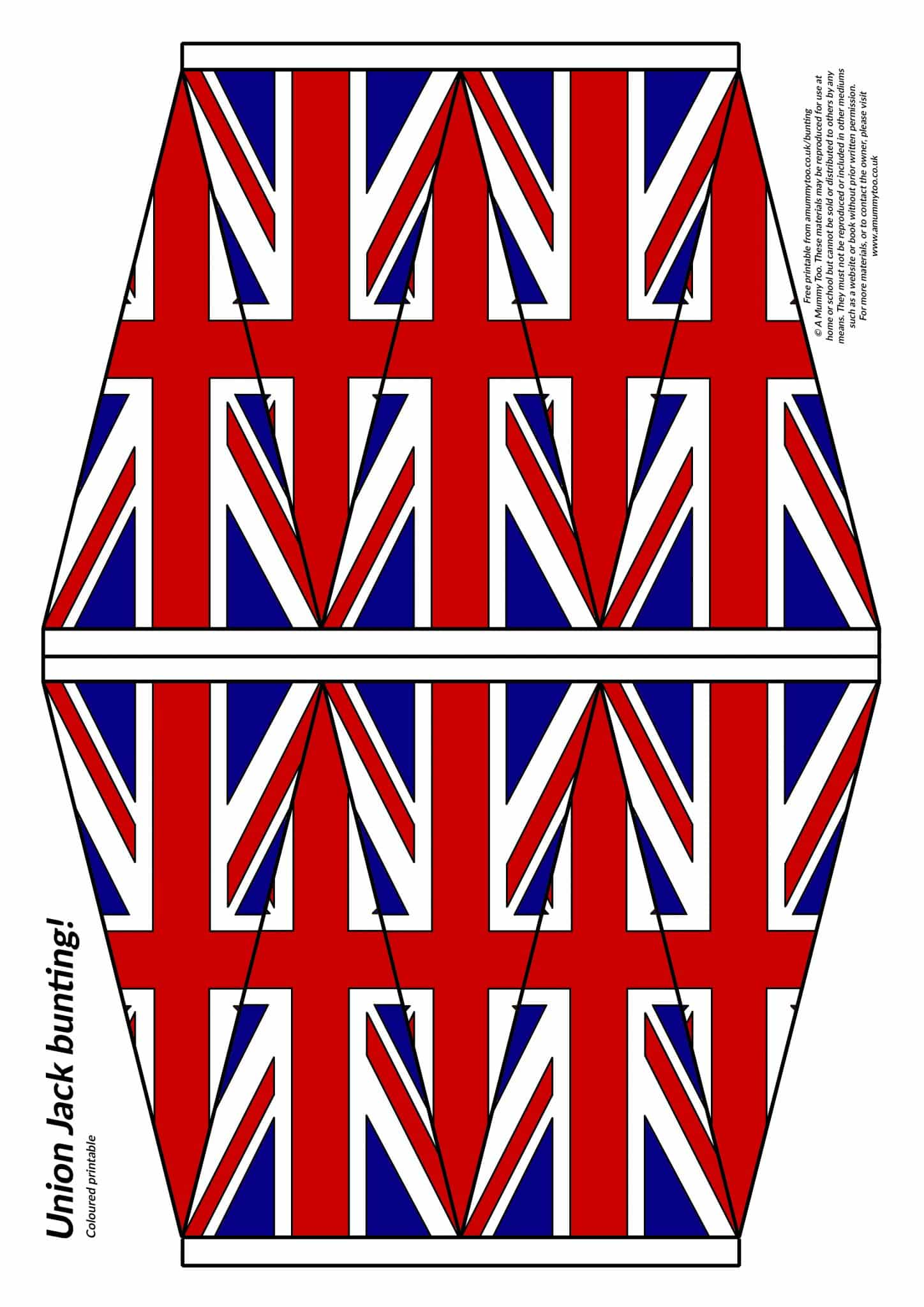 Printable Union Jack bunting - 10 bunting flags arranged on a sheet of A4 paper, coloured in and ready to print.