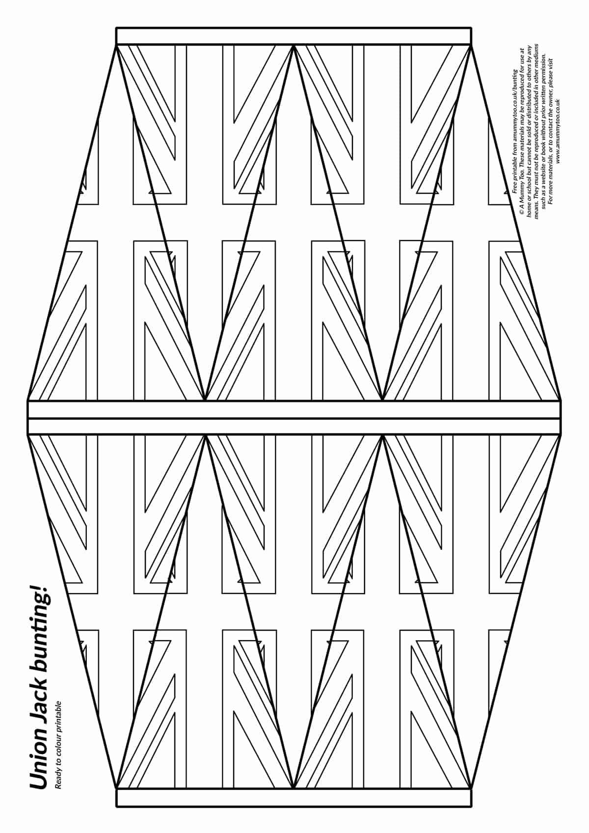 Printable Union Jack bunting - 10 bunting flags arranged on a sheet of A4 paper, ready to print and colour in.