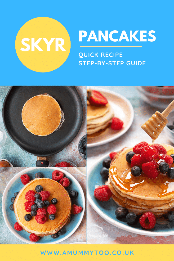 Collage of images showing skyr pancakes served with berries and honey. Caption reads: skyr pancakes quick recipe step-by-step recipe