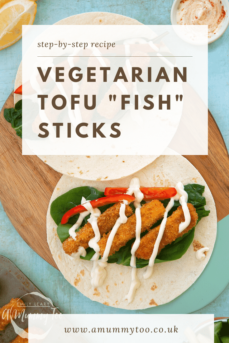 "Flour tortillas filled with tofu fingers, salad and mayo on a wooden board. Caption reads: step-by-step recipe vegetarian tofu ""fish"" sticks"