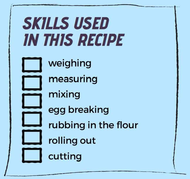 Graphic with text: Skills used in this recipes - weighing, measuring, mixing, egg breaking, rubbing in the flour, rolling out, cutting