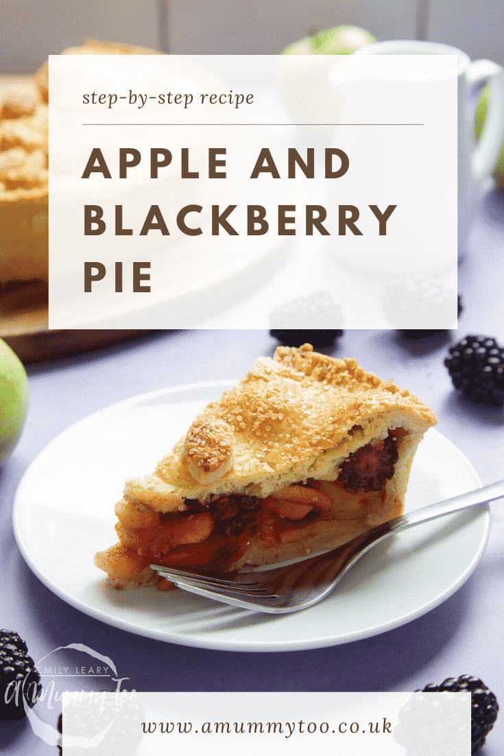 A slice of apple and blackberry pie on a white plate with a fork. Caption reads: step-by-step recipe apple & blackberry pie