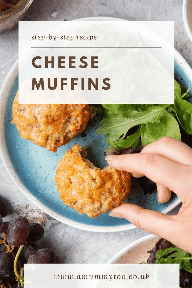 Easy cheese muffins on a plate with salad. A hand reaches for one. Caption reads: step-by-step recipe cheese muffins