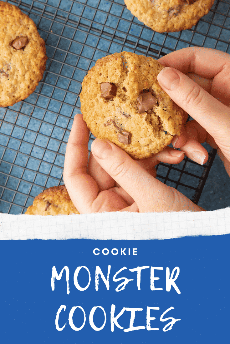 Hands breaking open a cookie monster cookie. Caption reads: Cookie monster cookies