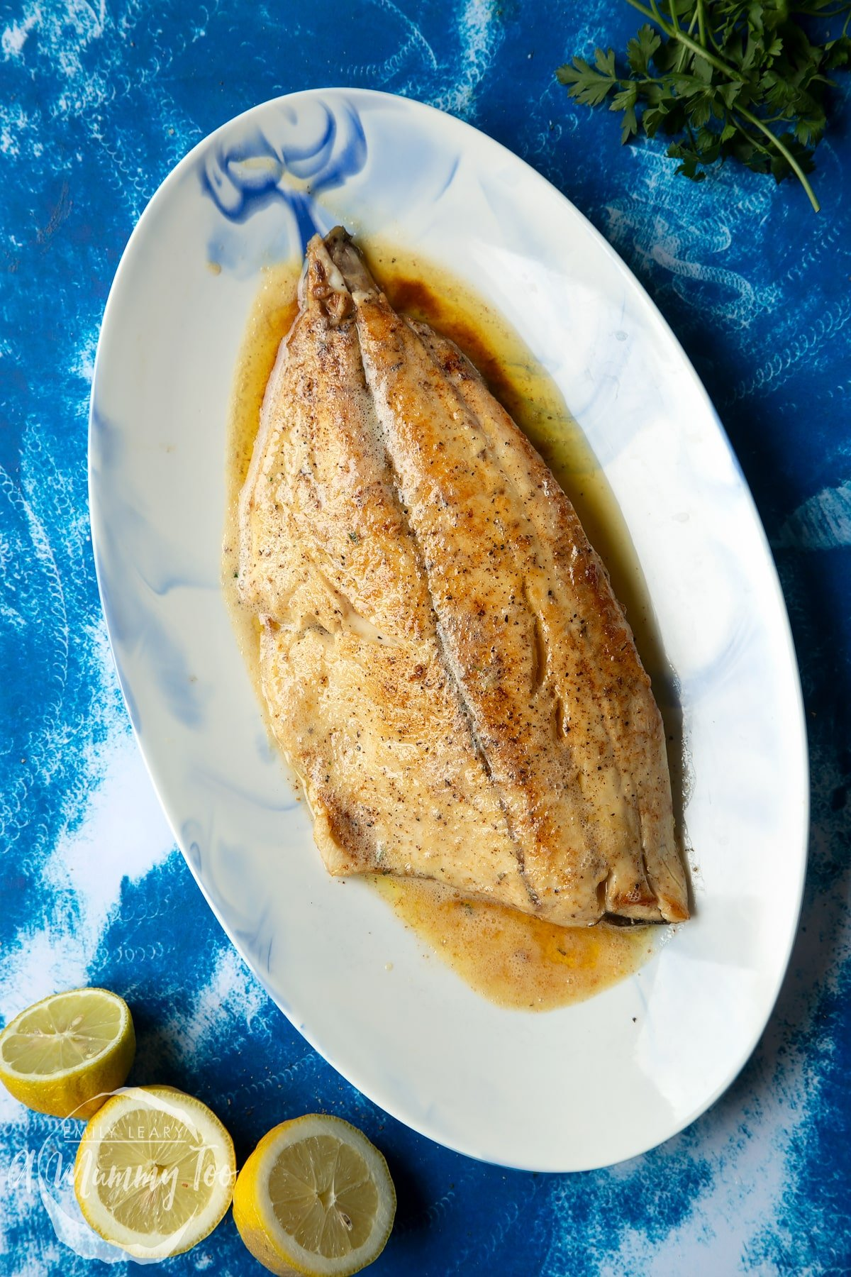 Pan-fried Yellowtail on an oval serving dish.
