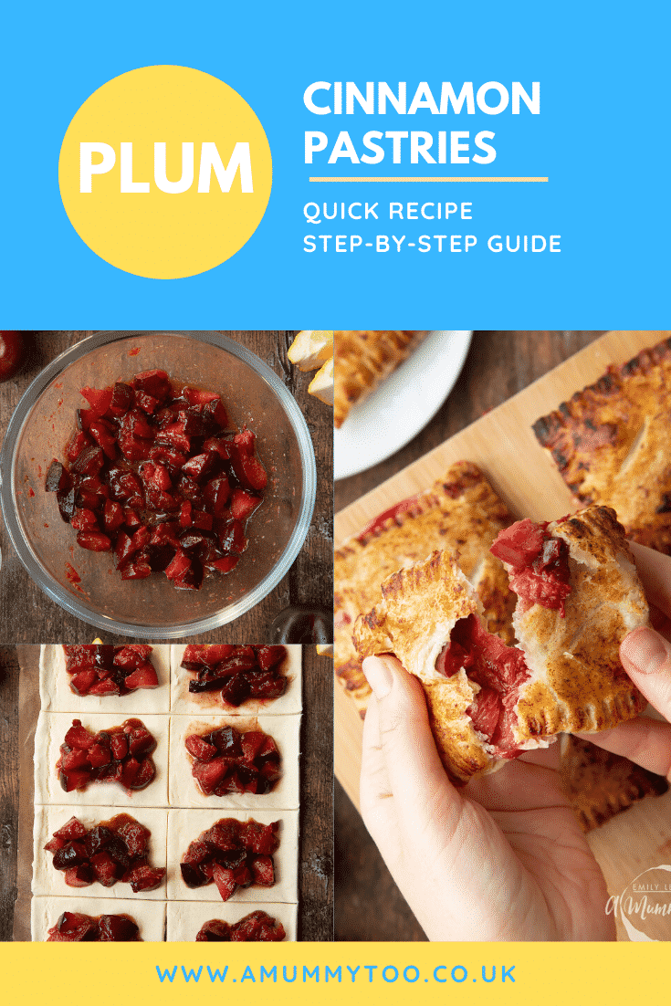 A collage showing the making of a plum pastry recipe. Caption reads: plum cinnamon pastries quick recipe step-by-step guide