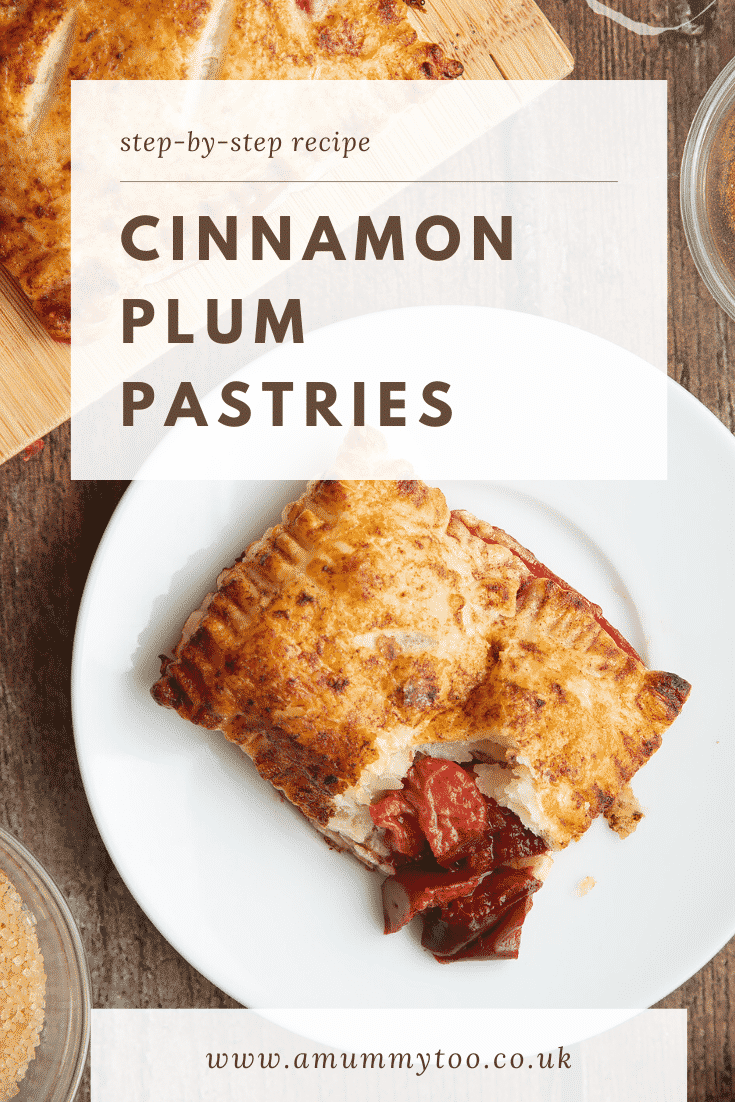 A plum pastry on a white plate. Caption reads: step-by-step recipe cinnamon plum pastries