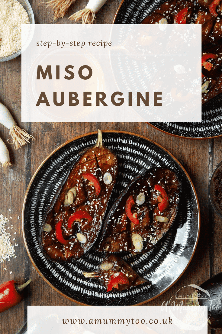 Two slices of miso aubergine on a plate, topped with chilli, springs onions and sesame seeds. Caption reads: step-by-step recipe miso aubergine