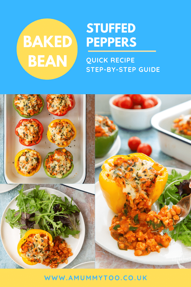 Collage of images showing stuffed peppers in their roasting tray and served. Caption reads: Baked bean stuffed peppers quick recipe step-by-step guide