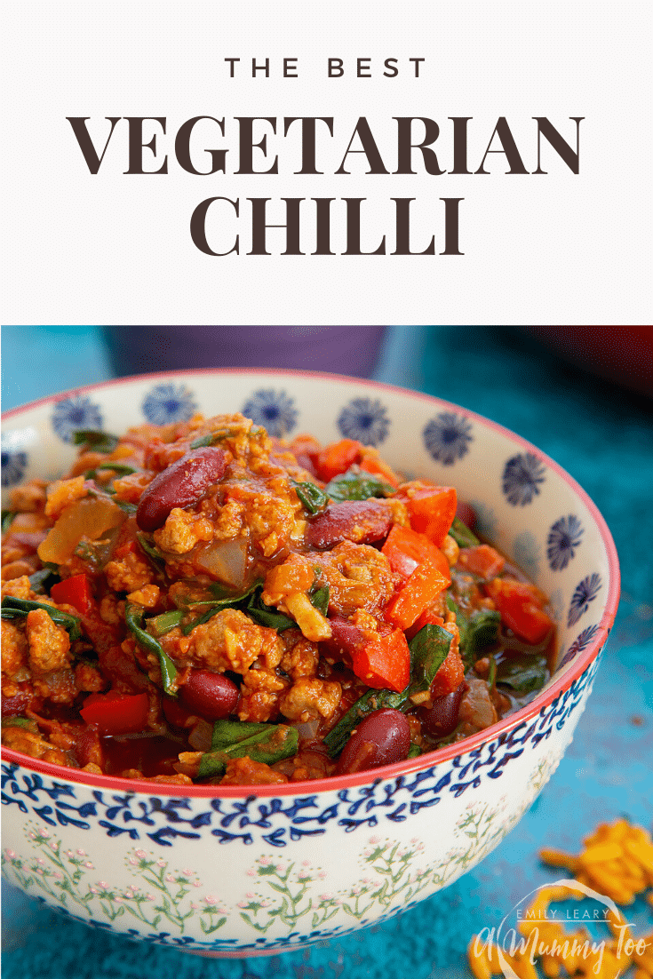 Vegetarian mince chilli in a bowl. Caption reads: the best vegetarian chilli