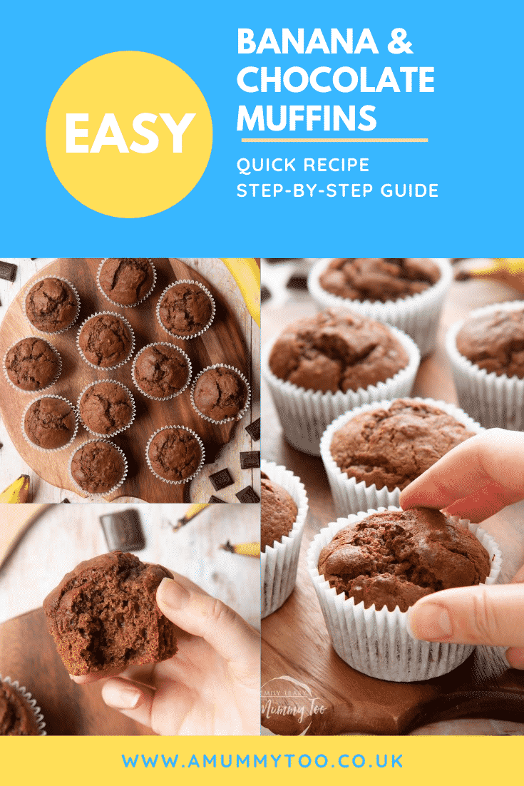 Graphic text EASY BANANA  & CHOCOLATE MUFFINS QUICK RECIPE STEP-BY-STEP GUIDE above collage of overhead shot of banana and chocolate muffins, front angle shot of a hand holding a banana and chocolate muffin, and  front angle shot of a hand holding a banana and chocolate muffin