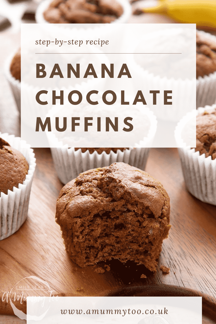 Graphic text with step-by-step recipe BANANA CHOCOLATE MUFFINS above front angle shot of half eaten banana and chocolate muffins served on a wooden plate with website URL below