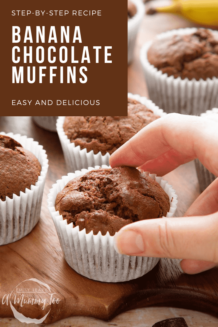 Graphic text with STEP-BY-STEP RECIPE BANANA CHOCOLATE MUFFINS EASY AND DELICIOUS above front angle shot of a hand holding Banana and chocolate muffins served on a wooden plate with a mummy too logo in the lower-left corner