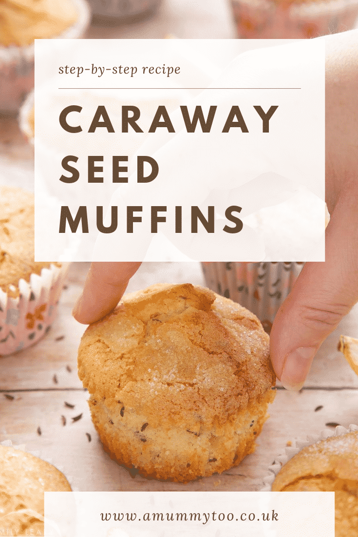 graphic text CARAWAY SEED MUFFIN step-by-step recipe above overhead shot of a hand touching caraway seeds muffin with floral case