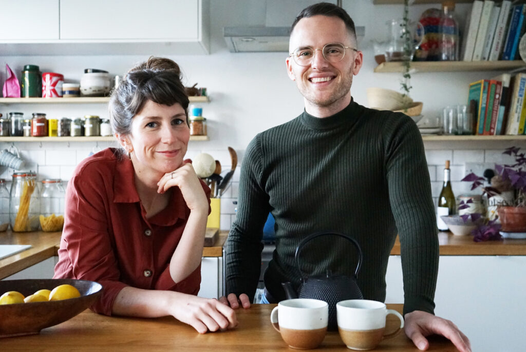 David Atherton and Rachel Stubbs standing together in a kitchen.