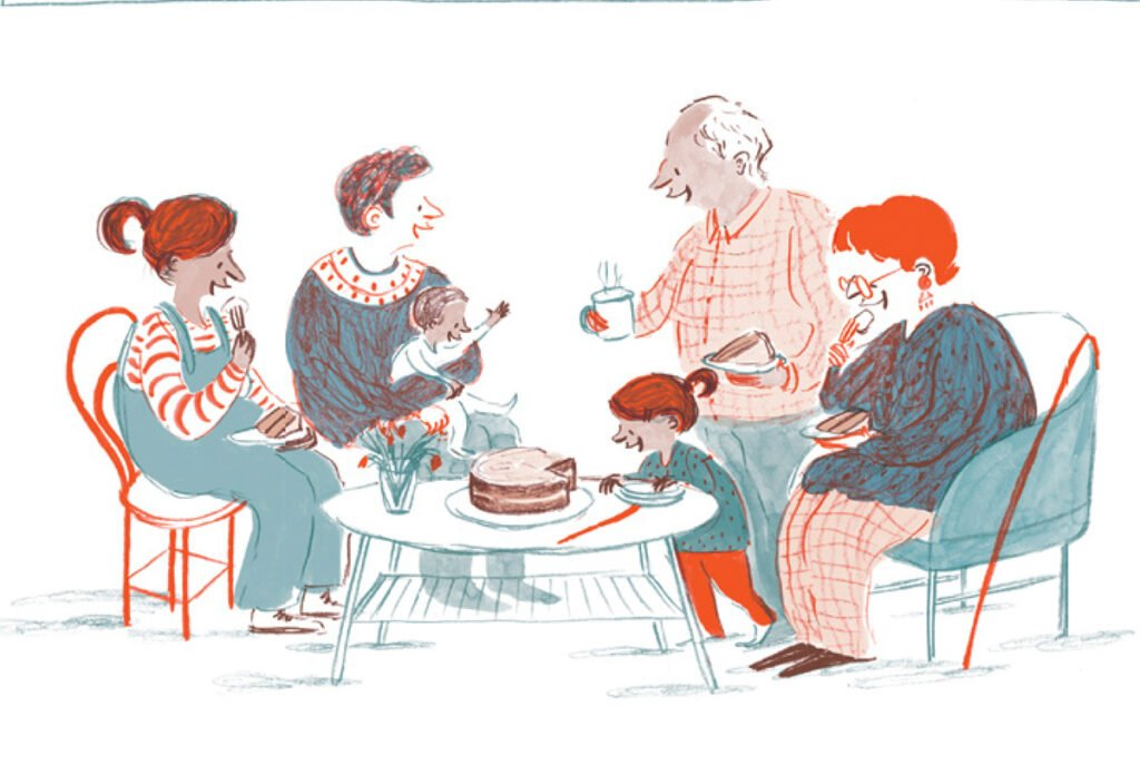 Illustration of a family sitting at a table eating chocolate cake. Illustration by Rachel Stubbs for My First Cook Book.