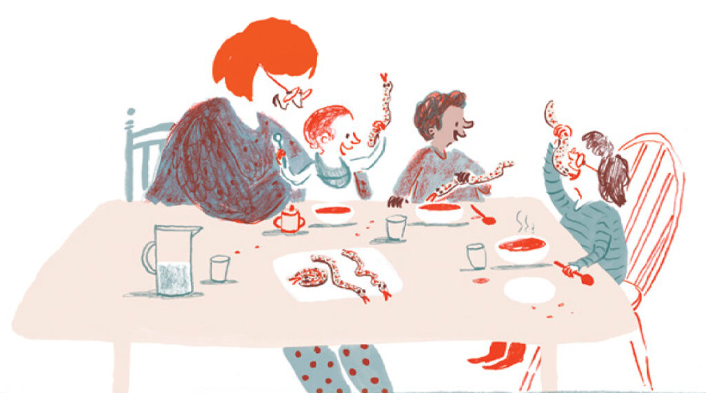 Illustration of a family sitting at a table eating bread snakes. Illustration by Rachel Stubbs for My First Cook Book.