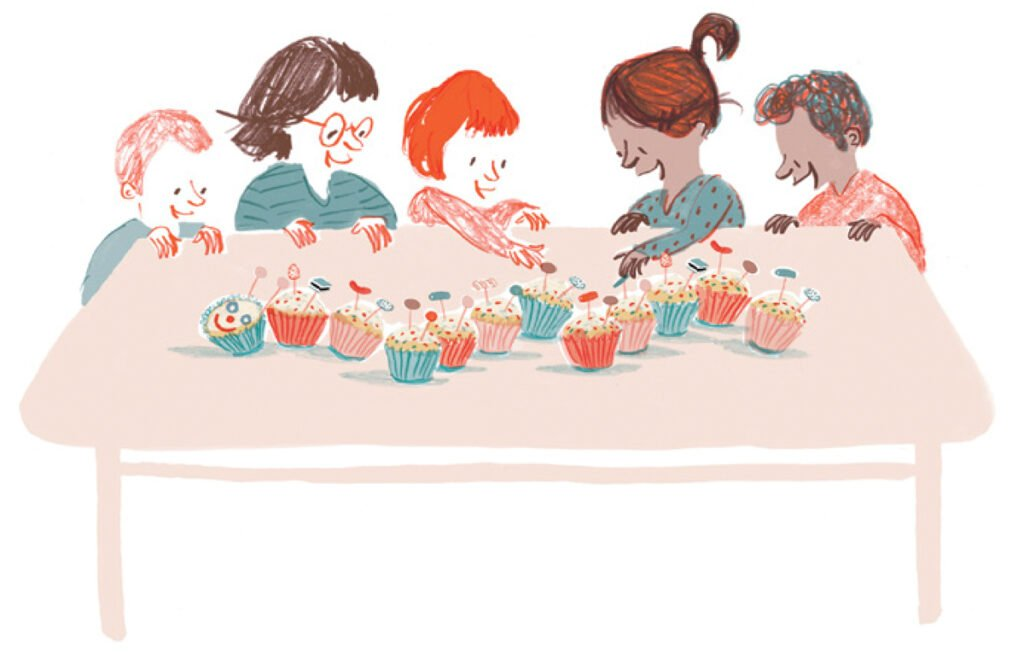 Illustration of a family sitting at a table eating a cakey caterpiillar. Illustration by Rachel Stubbs for My First Cook Book.