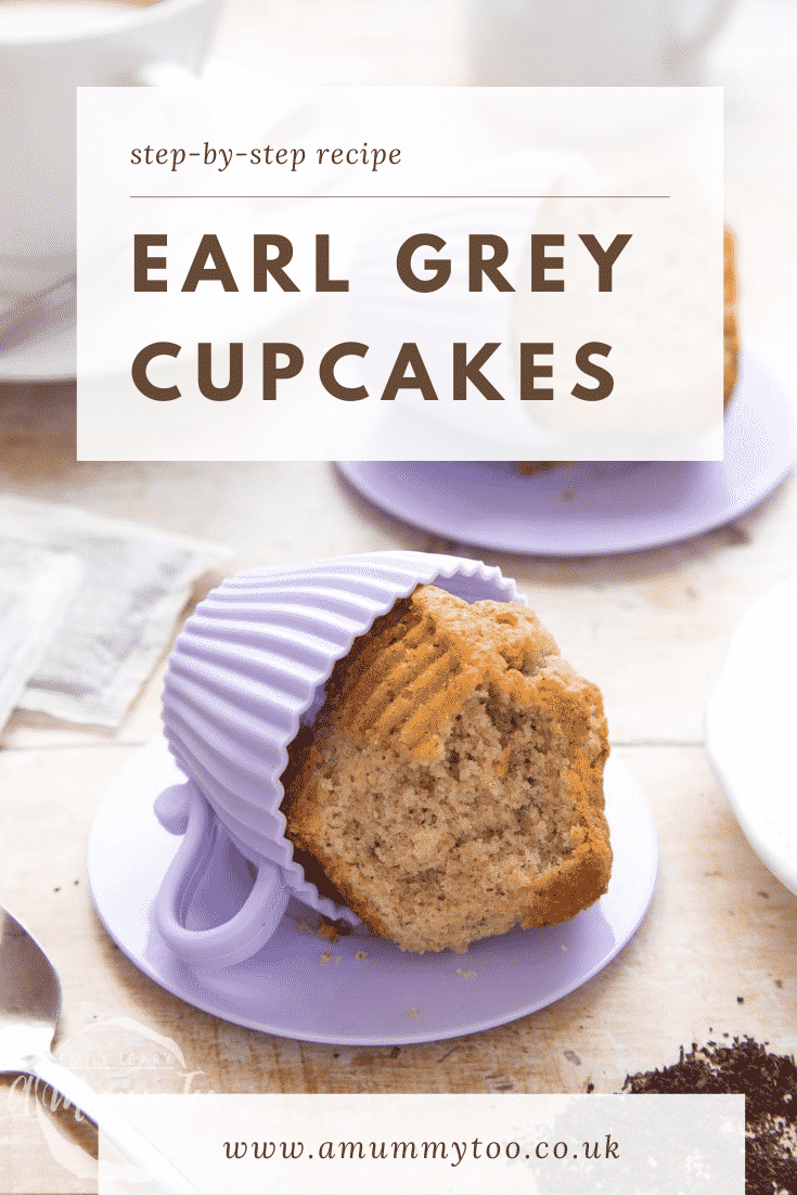 Graphic text for Pinterest overlayed from a side on earl grey cupcake being removed from a silicone mould.