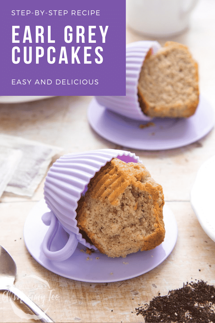graphic text EASY AND DELICIOUS EARL GREY CUPCAKES STEP-BY-STEP RECIPE above Overhead shot of Earl Grey tea cupcakes served on a purple plate with a mummy too logo in the lower-left corner