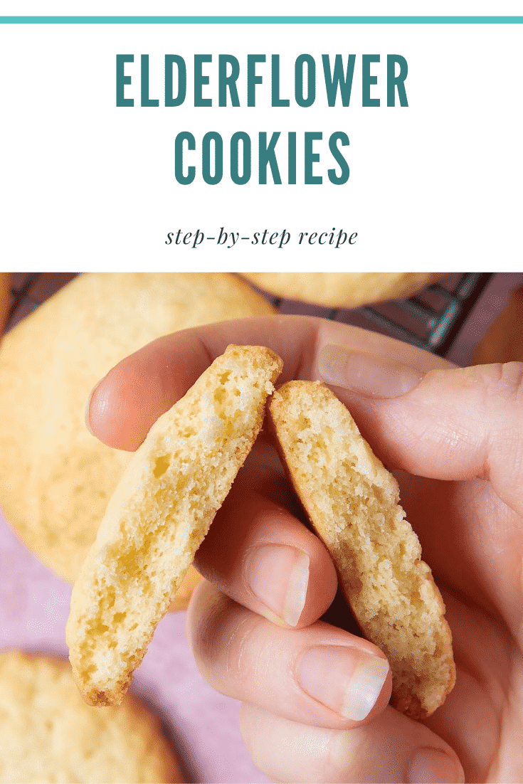 Hand holding a broken in half elderflower cookie. There's some text at the top of the image describing the image for Pinterest.