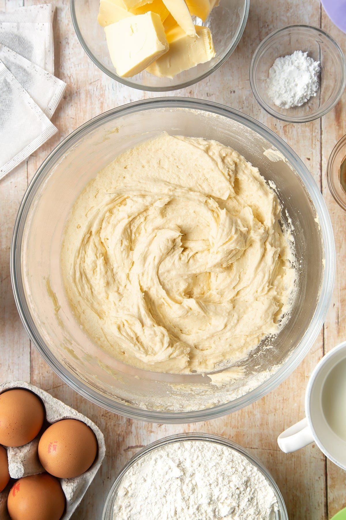 Folding through the cupcake mixture