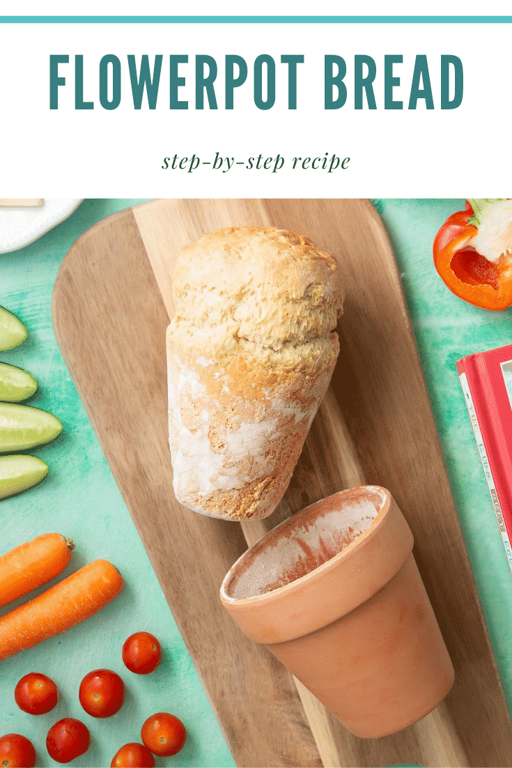 graphic text FLOWERPOT BREAD step-by-step recipe above a bread beside a flowerpot served on a wooden plate
