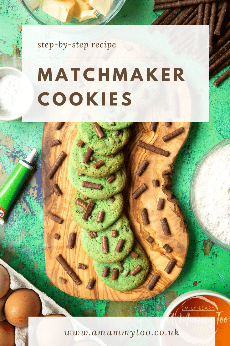 Matchmaker cookies arranged on a wooden board. Caption reads: step-by-step recipe Matchmaker cookies