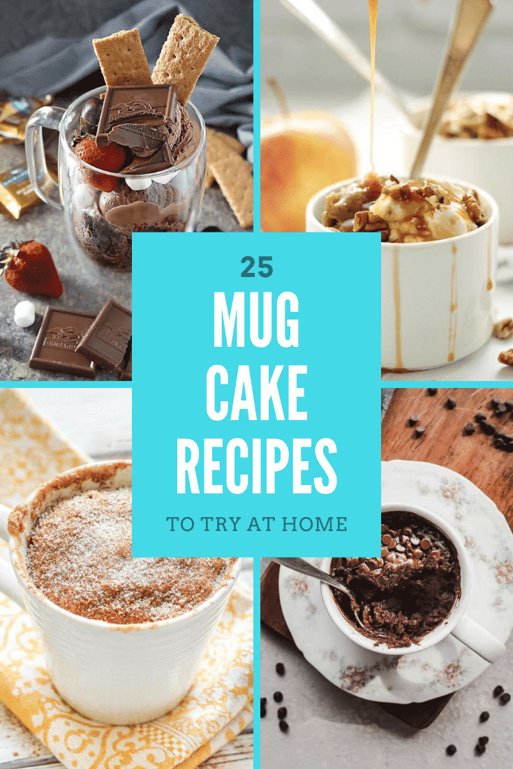 Collage of mug cakes. Caption reads: 25 mug cake recipes to try at home