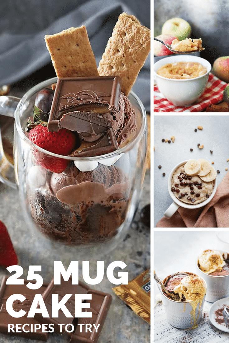 Collage of mug cakes. Caption reads: 25 mug cake recipes to try
